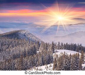 יפה, הרים, חורף, עלית שמש