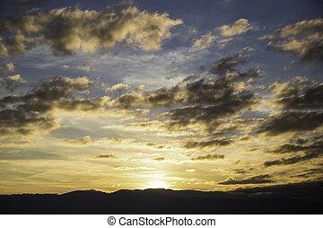 יפה, הרים, של נוף, מעל, צלליות, שקיעה, שחור, הבט