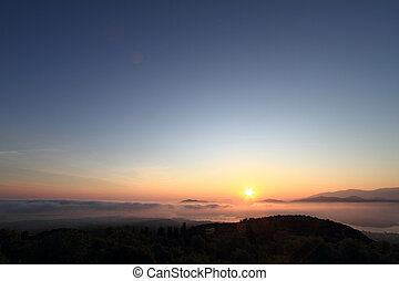 יפה, הרים, של נוף, מעל, שקיעה, הבט
