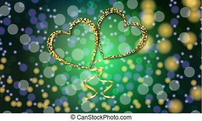 יפה, זהוב, אהוב, ולנטיין, effect., תקציר, bokeh, טקסטורה, מטושטש, עצב, וקטור, ירוק, דוגמה, רקע, לבבות, בלונים, יום, סרט, שמח