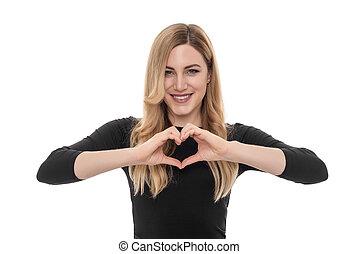 יפה, לב, אישה, שלה, להראות, חתום, בלונדיני, hands.