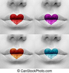 יפה, מיני, צבעוני, שפתיים, עם, צורה של לב, paint.