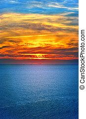 יפה, נוף, טבעי, ים, שמיים, צבעים, שקיעה, רקע, נוף