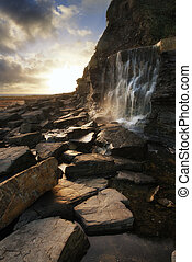 יפה, סלעים, מפל, שקיעה, לזרום, החף, נוף
