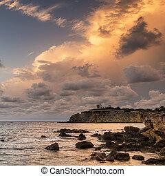 יפה, סלעי, מעל, ים תיכוני, נוף, ים, זריחה, עלית שמש, קו חוף