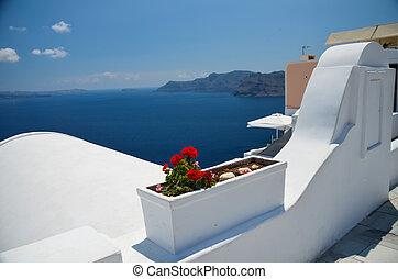 יפה, קיץ, להרגע, -, סאנטוריני, שים, חופשה