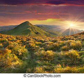 יפה, קיץ, שמיים, דרמטי, שקיעה, הרים., נוף