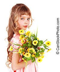 יפה, קפוץ, ילדה, flower.