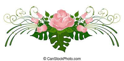 יפה, ריח, מ, ורדים