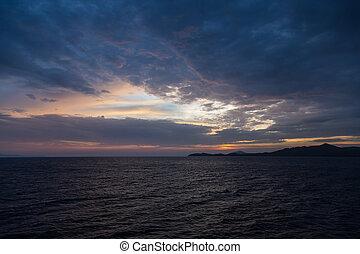 יפה, של נוף, מעל, שקיעה, השקפה של ים