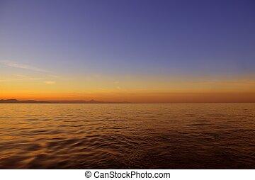 יפה, שקיעה, עלית שמש, מעל, כחול, ים, אוקינוס, שמיים אדומים