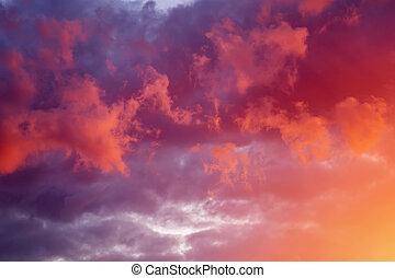 יפה, שקיעה, sky., שמיים, רקע.