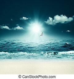יפה, תקציר, רקעים, עצב, sea., של ים, שלך