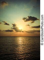 יפה, koh, השתקפות, מעל, phangan, שקיעה, ים, water.