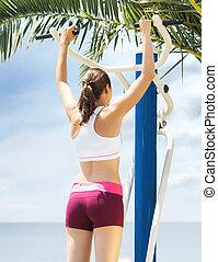 יפה, lifestyle., מהודר, בריא, outdoor., ספורט, אולם התעמלות, כושר גופני, ילדה