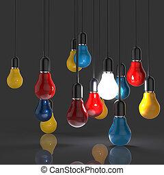 יצירתי, רעיון, ו, הנהגה, מושג, נורה, כפי, הנהגה