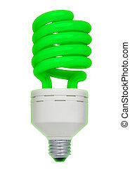 ירוק, אור פלורוסנטי, נורת חשמל