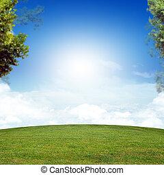 ירוק כחול, דשא, שמיים