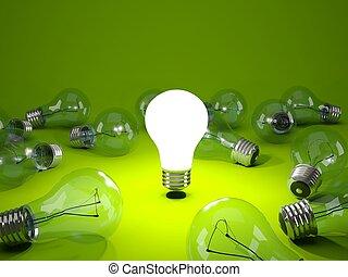 ירוק קל, רקע, נורת חשמל