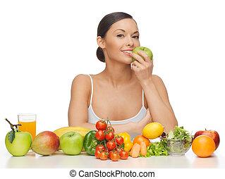 ירקות, אישה, פירות