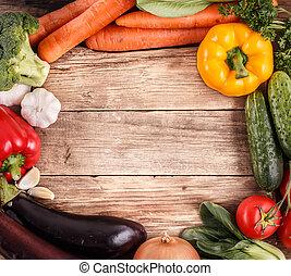 ירקות, ב, עץ, רקע, עם, פסק, ל, text., אורגני, אוכל.
