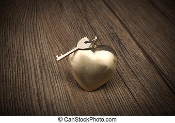 ישן, הקלד, ו, זהב, heart., הקלד, של, שלי, לב, concept., יום של ולנטיין, greetings.
