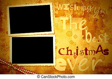 ישן, צילום, שני, מסגרות, כרטיס של חג ההמולד
