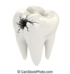 כאב שיניים, מושג, 3d