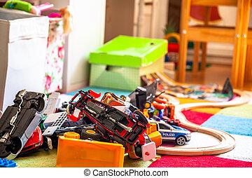 כאוס, ב, ה, צבעוני, חדר של ילדים, -, שחק, cars.