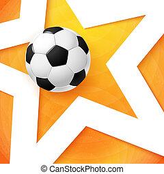 כדורגל, מואר, תפוז, poster., כדורגל, רקע, ככב, לבן