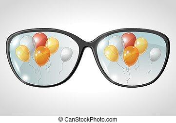 כדורים, וקטור, השתקף, דוגמה, משקפיים