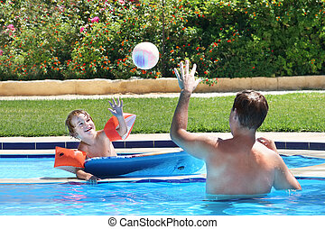 כדור, אבא, ילד, לשחק בריכה, לשחות
