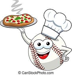 כדור, אופי, הפרד, וקטור, בייסבול, בשל, קמיע, ציור היתולי, פיצה