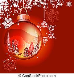 כדור, כוס, מואר, רקע, חג המולד, אדום