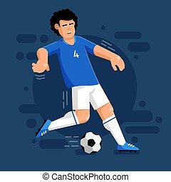 כדור כחול, כדורגל אחיד, שחקן, לבן, איטלקי