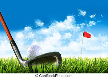 כדור של גולף, עם, תלולית, ב, ה, דשא