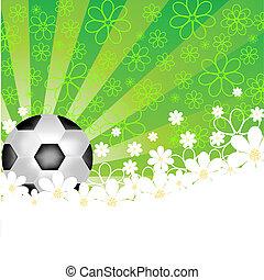כדור של כדורגל, עם, פרחים, ו, sunris