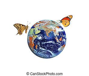 כוכב לכת, יסודות, דמות, נאסה, earth., פרפר, ספק, זה