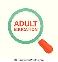 כוס, אופטי, מבוגר, מילים, חינוך, להגדיל, concept: