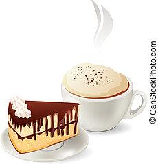 כוס של קפה חם, עם, פרוסה של עוגה של שוקולד