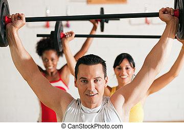 כושר גופני, קבץ, עם, משקולת, ב, אולם התעמלות