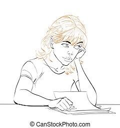 כותב, אישה, צעיר, מכתב