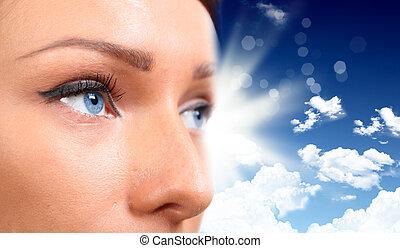 כחול, אישה, שמיים, נגד, רקע