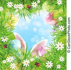 כחול, ביצים, שפן, sky., וקטור, רקע, אוזניים, דשא, חג הפסחה