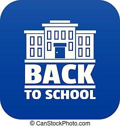 כחול, בית ספר, וקטור, השקע, איקון