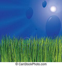 כחול, בלונים, ו, דשא ירוק