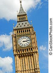 כחול, בן, שעון, שמיים גדולים, אנגליה, נגד, מעונן, באופן חלקי, מגדל, לונדון