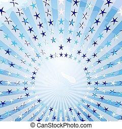כחול, בציר, קרנות, ראטרו, רקע.