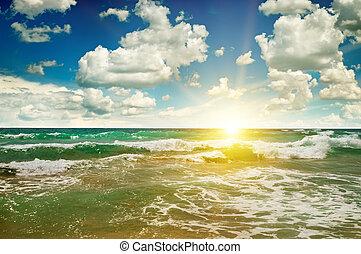 כחול, החף, שמיים, אוקינוס, עלית שמש, חולי