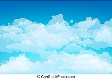 כחול, וקטור, שמיים, רקע, clouds.